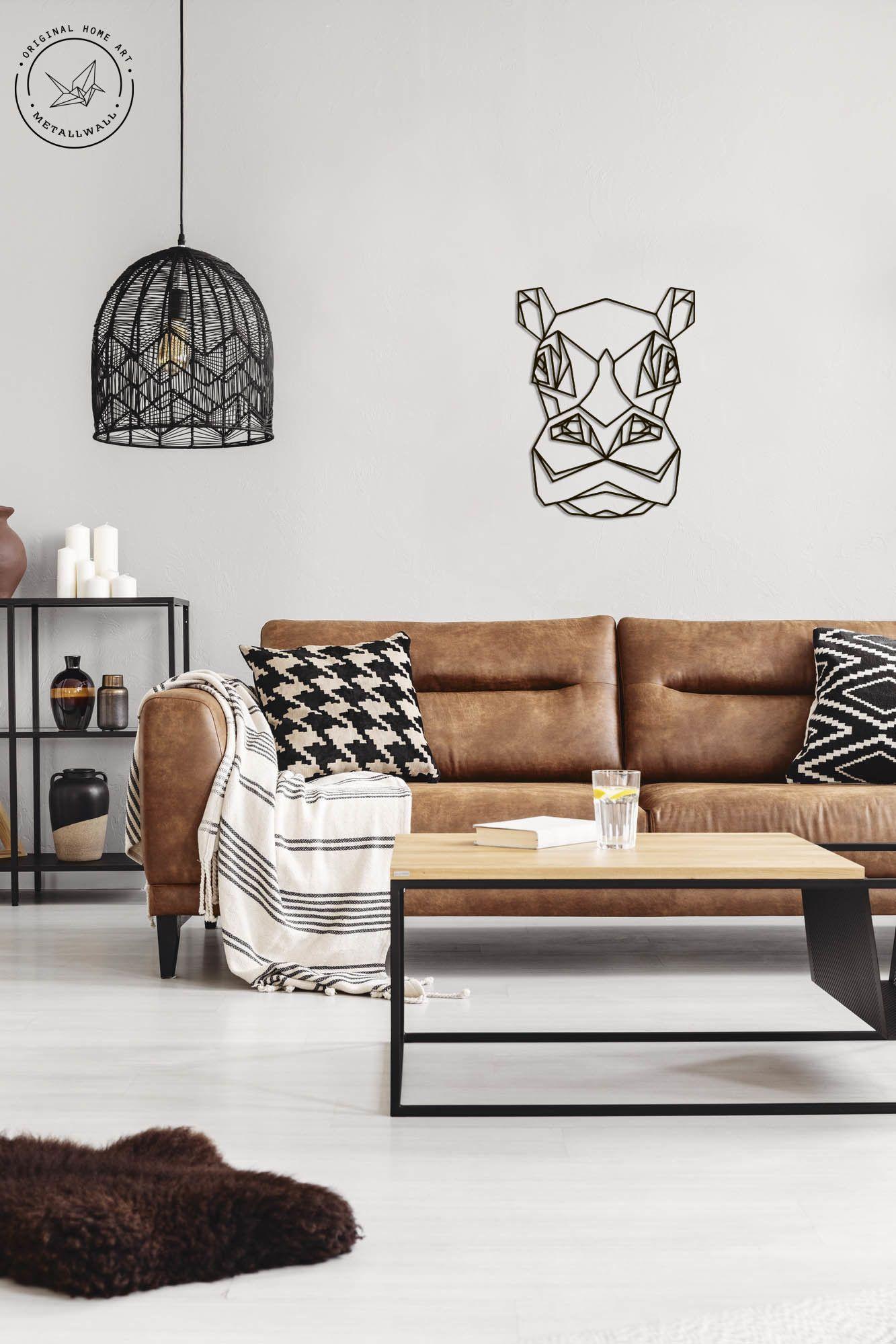 Metal Wall Art Geometric Animal Hippopotamus Head home