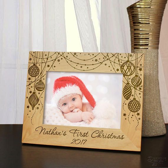 Personalized Christmas Ornament Picture Frame Engraved with Text in Any Font from Our Selection (Select Frame Size and Orientation) Each by DesignstheLimit #TrendingEtsy