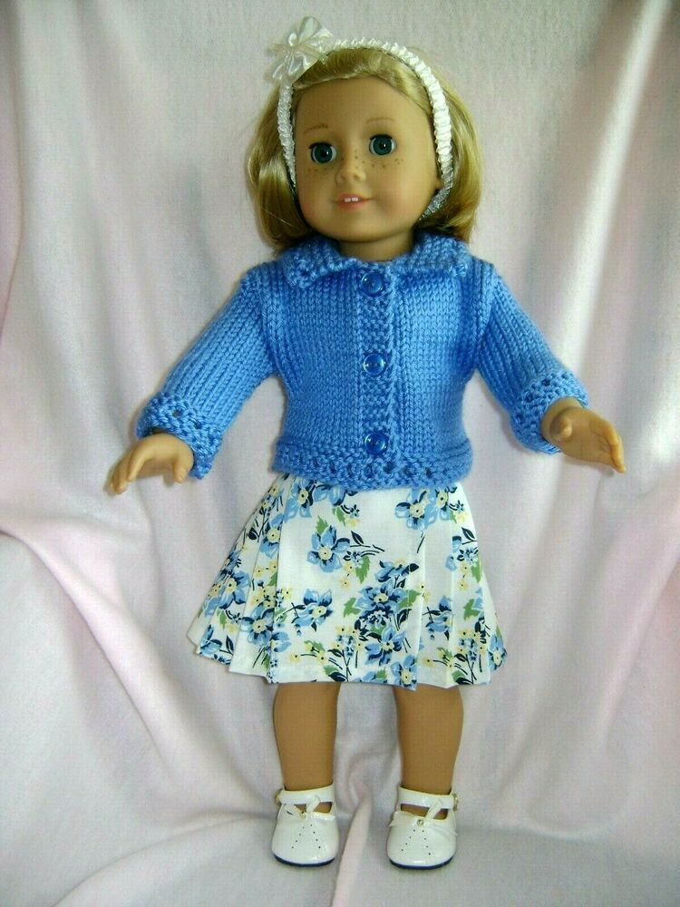"""Floral Print Dress Sweater  Fits 18/"""" American Girl Doll Clothes"""