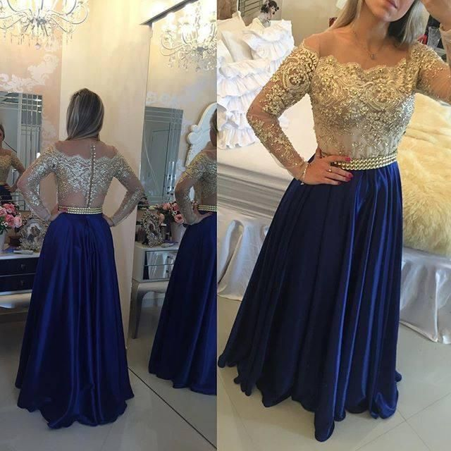 Gold Beaded Royal Blue Prom Dresses 2016 Illusion Long Sleeves Lace Off  Shoulder Long Formal Evening Gowns A Line Formal Party Dress Unusual Prom  Dresses ... 059aa143cad5