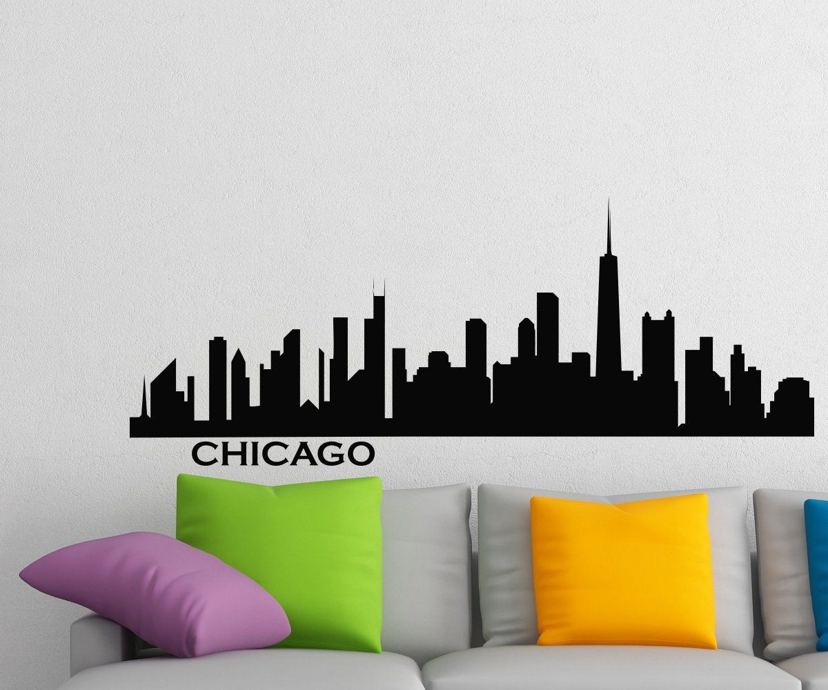 Chicago Skyline Wall Decal Vinyl Sticker City Silhouette Wall Decals Vinyl Stickers Home Decor Living Room & Chicago Skyline Wall Decal Vinyl Sticker City Silhouette Wall Decals ...