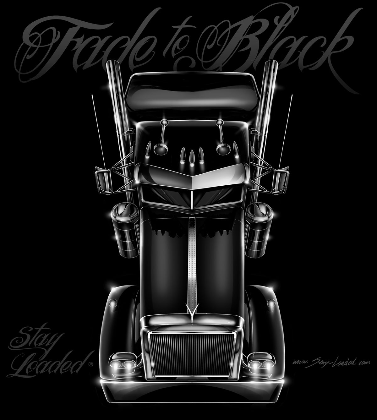 Fade to black stay loaded apparel illustration for Tattoo shops gainesville ga