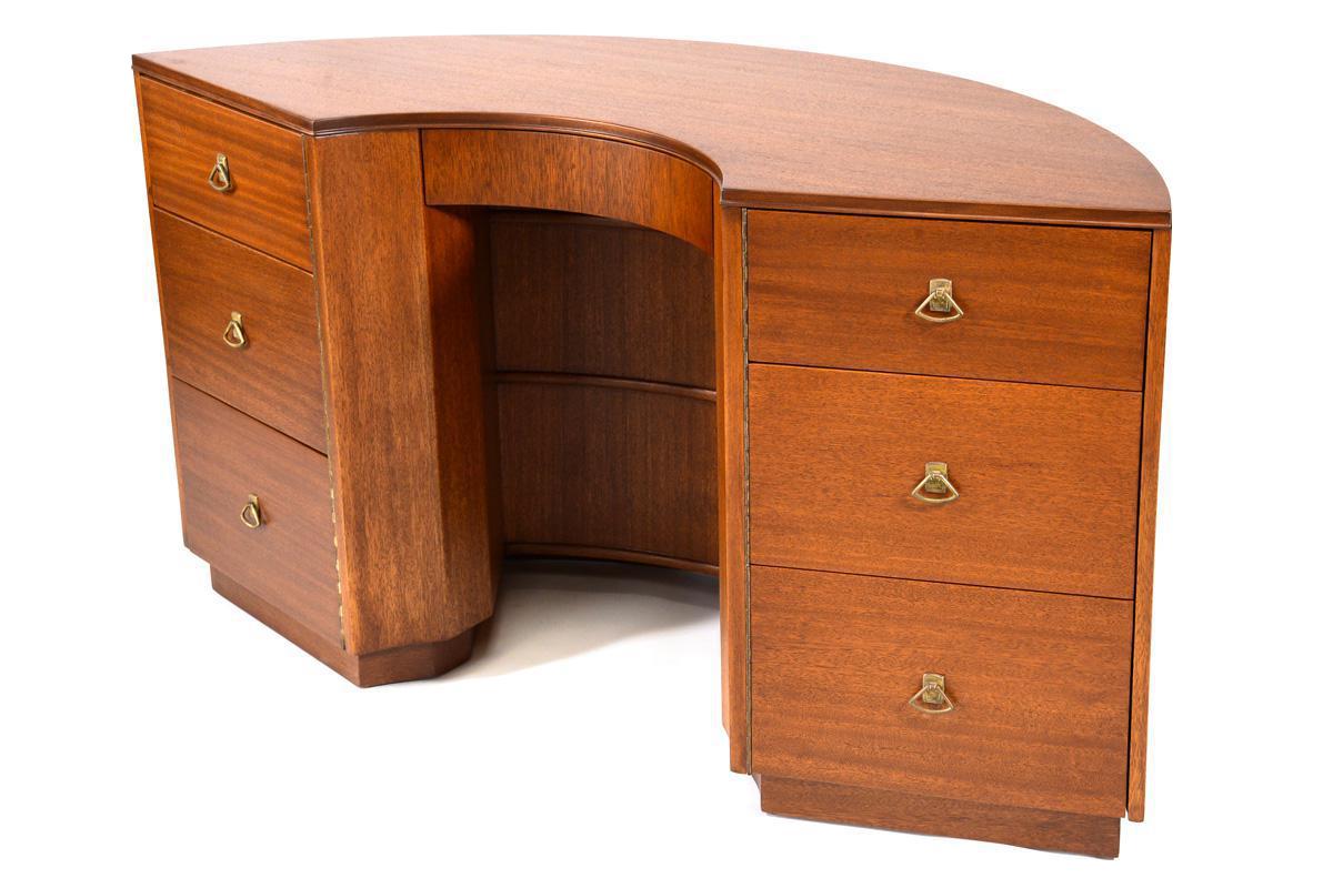 4500 Interesting Shape And The Shelves On The Back Make It A Floater Piece I Don T Know If I Love The Crescent Crescent Desk Desk Design Brown Saltman Desk