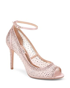 c0c70baeacb BADGLEY MISCHKA WOMEN S WEYLIN EMBELLISHED SATIN   MESH PEEP-TOE PUMPS.   badgleymischka  shoes