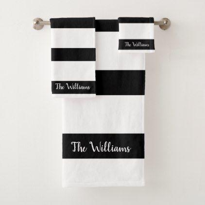 Beautiful Black And White Stripes Bath Towel Set Zazzle Com