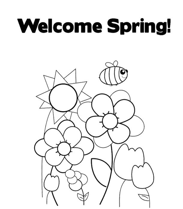 Welcome Spring Coloring Page For Kids Kids Coloring Pages