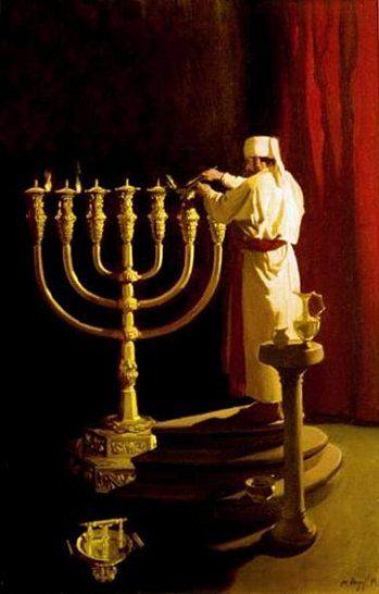 Priest Lighting The Menorah