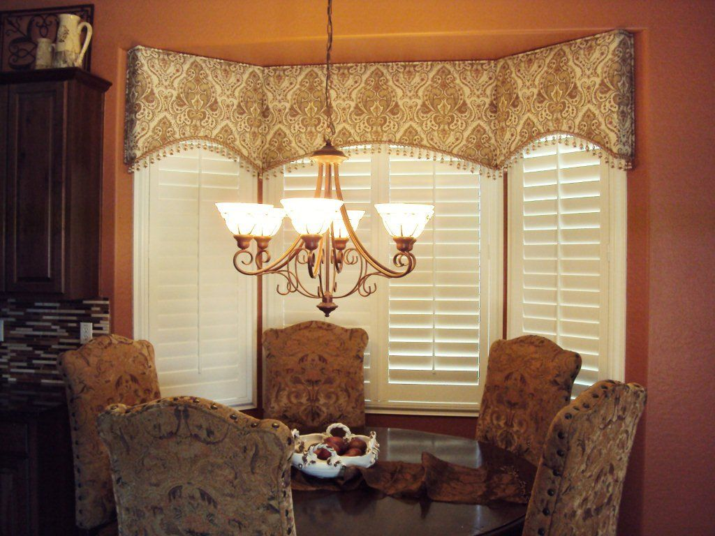 Arched cornice great for bay windows modified of course - Living room bay window treatments ...
