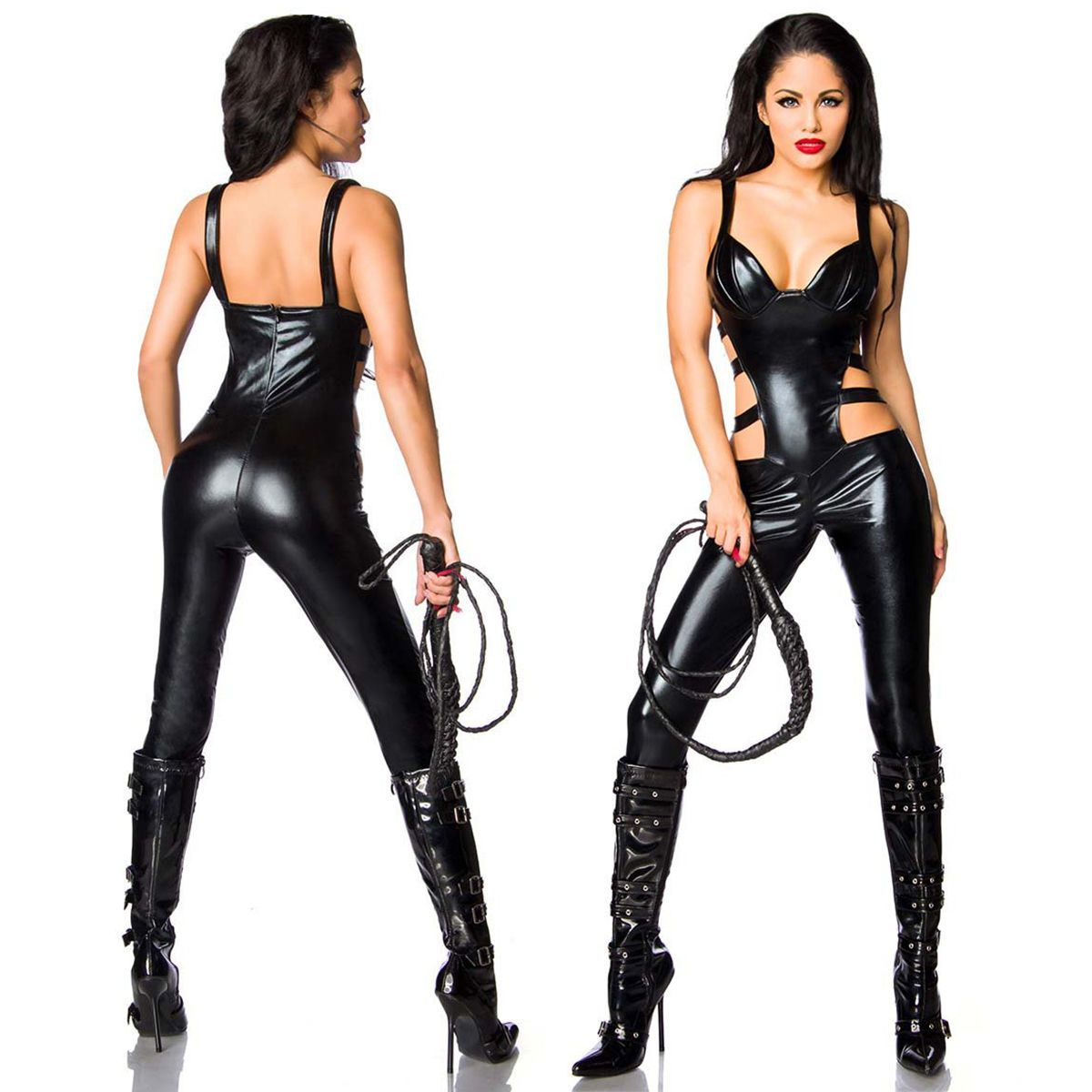 b492eb1c5cf1 Sexy Women Zipper Pvc Leather Catsuit Bodysuit Jumpsuit Costume Gothic  Clubwear