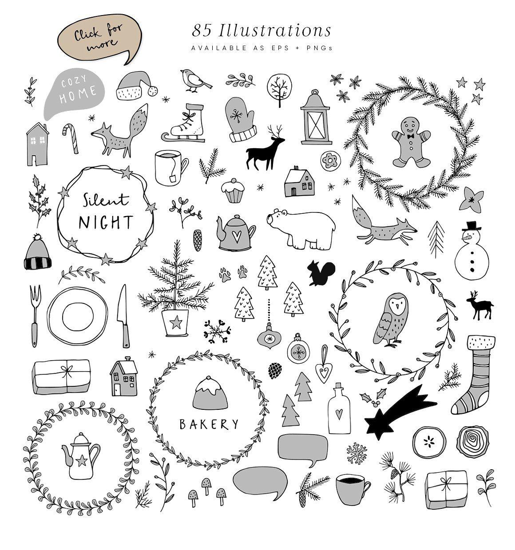 Snowy Christmas script font & logos Christmas doodles