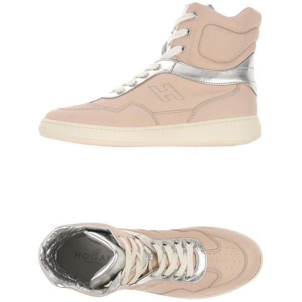 Hogan Sneakers (€240) ❤ liked on Polyvore featuring shoes, sneakers, light pink, light pink flat shoes, rubber sole shoes, hogan sneakers, genuine leather shoes and flat sneakers