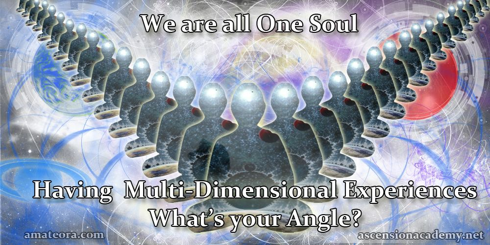 We are all One Soul. Having Multi-Dimensional Experiences.  What's your angle?