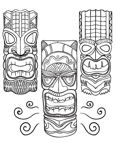 Printable Tiki Mask Coloring Pages | tiki masks | Pinterest | Tiki ...