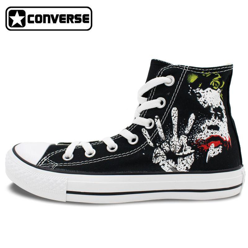 eda30e72df8e Sneakers Men Women Converse All Star Joker Design Custom Hand Painted Shoes  Boys Girls Black Canvas