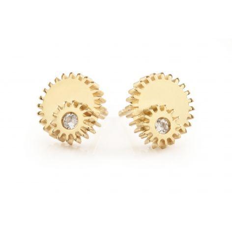Clarice Price Thomas Double Winding Wheel Gold & White Sapphire Studs