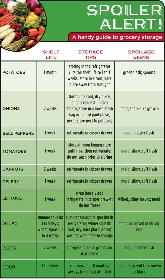 Spoiler Alert A Handy Infographic Guide To The Shelf Life Of Vegetables Food Shelf Life Food Shelf Fruit And Veg