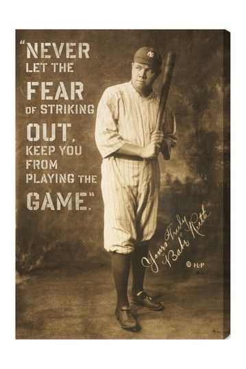 "Babe Ruth Quotes Oliver Gal ""babe Ruth Quote"" Canvas Wall Art  ""fashion Gifts"