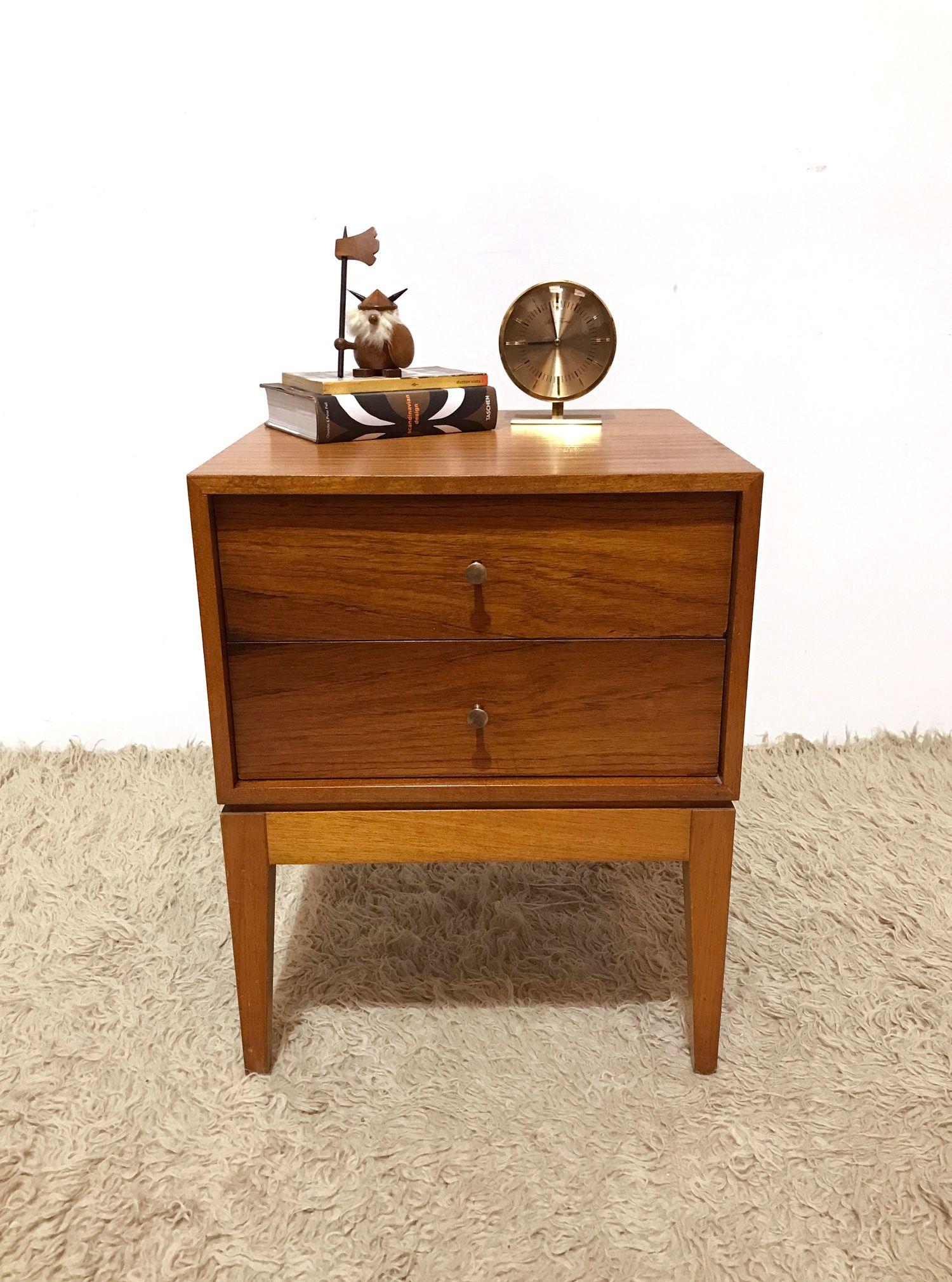 60s Vintage Mid Century Walnut Uniflex Bedside Table Chest