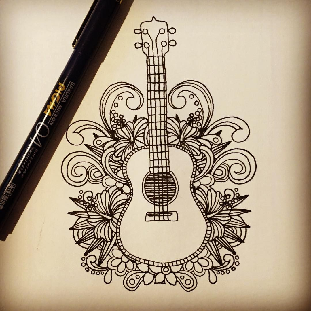 Guitar Doodle Drawing Design Art