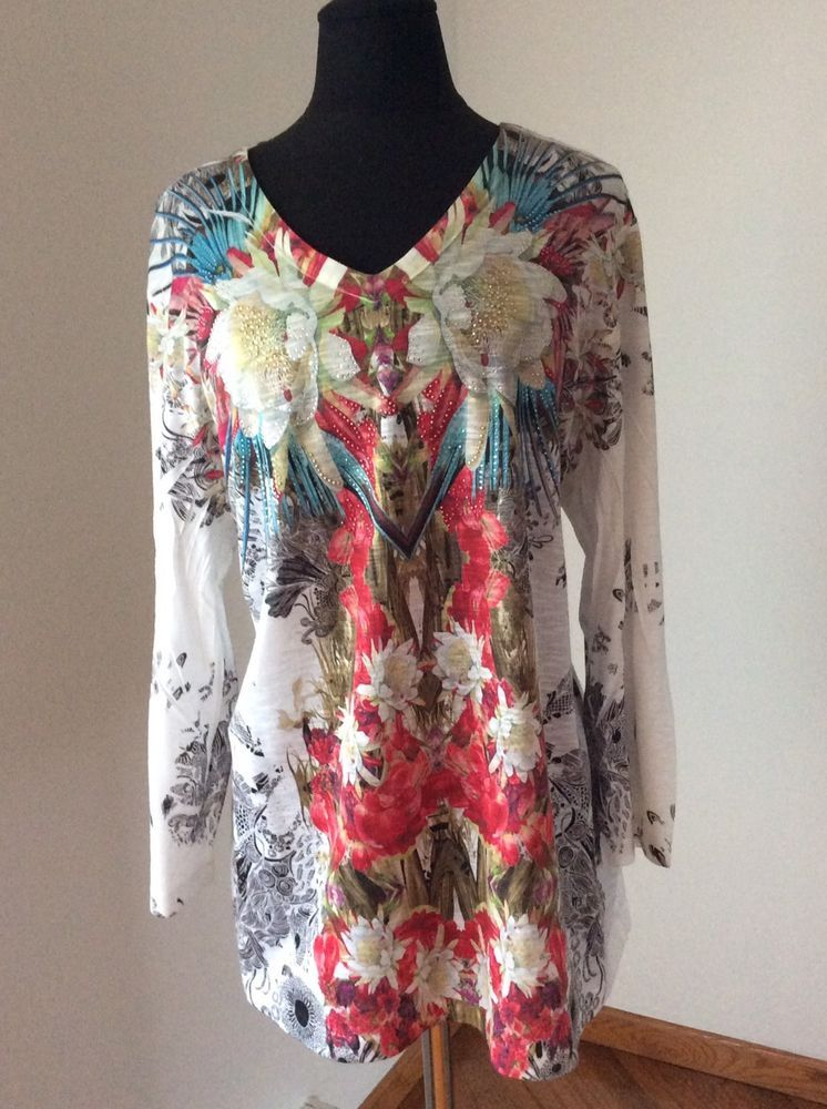 Chicos 3 Xl Multicolor Floral Embellished 3 4 Sleeve V Neck Blouse