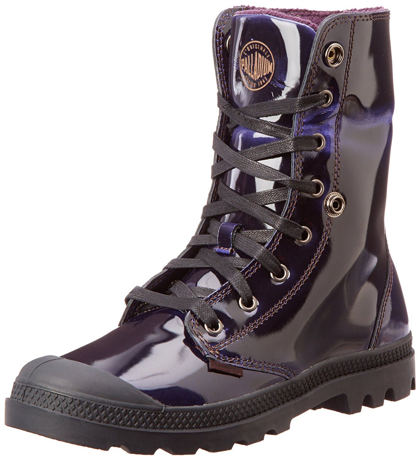 Palladium Baggy Leather Knit Boots Midnight Purple Women S Shoes The Baggy Leather Knit Boot By Palladium In A Dark Pur Palladium Boots Boots Palladium Shoes