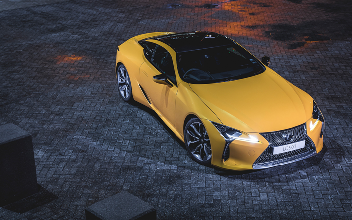 Download Wallpapers Lexus LC 500, 2018, Sports Car, Yellow LC, 4K,