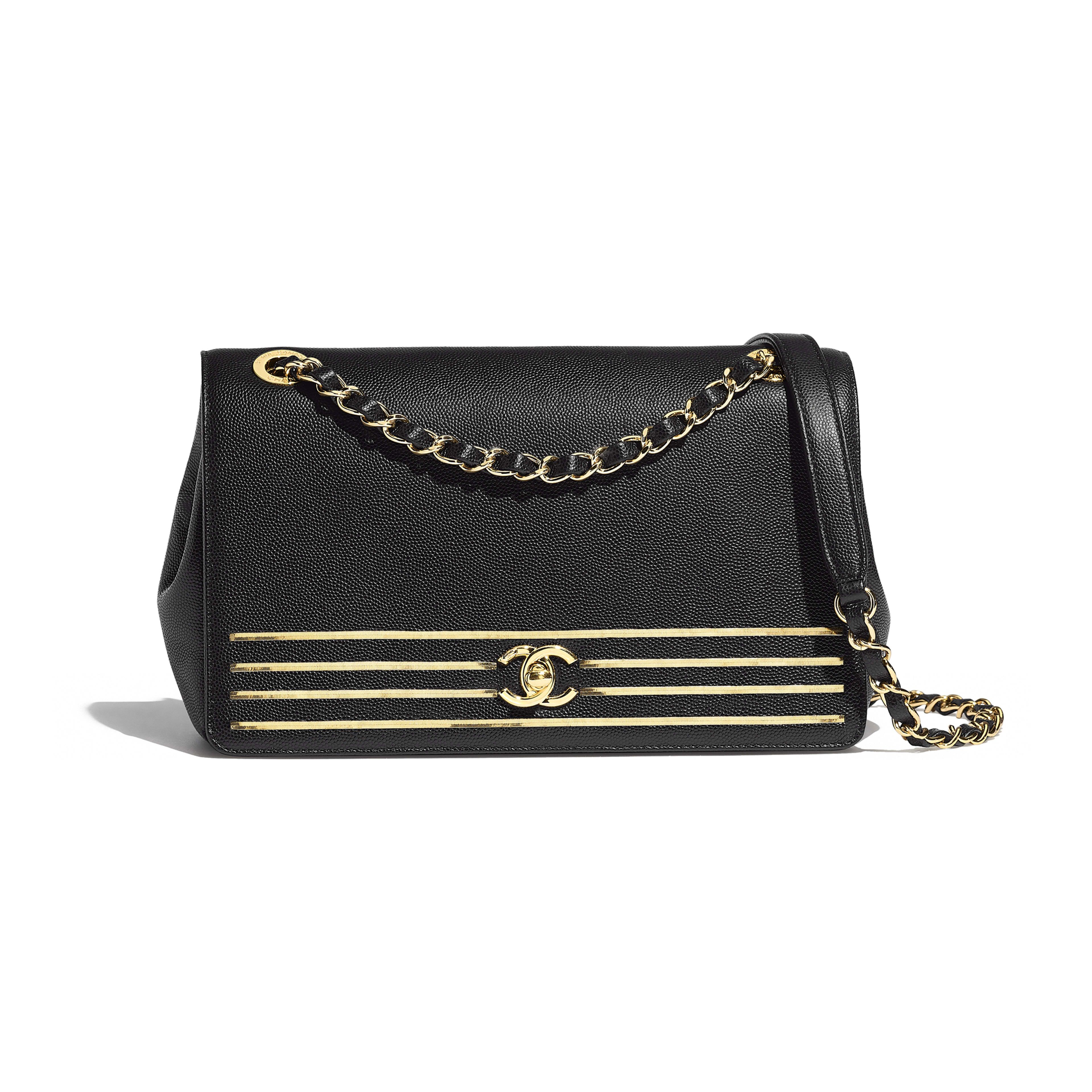 69d1fecf6c Flap Bag - Black - Embroidered Grained Calfskin   Gold-Tone Metal - Default  view - see full sized version