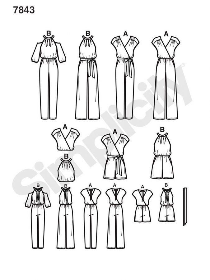 7843 Simplicity Schnittmuster Overall Jumpsuit | Nähen Kleidung ...