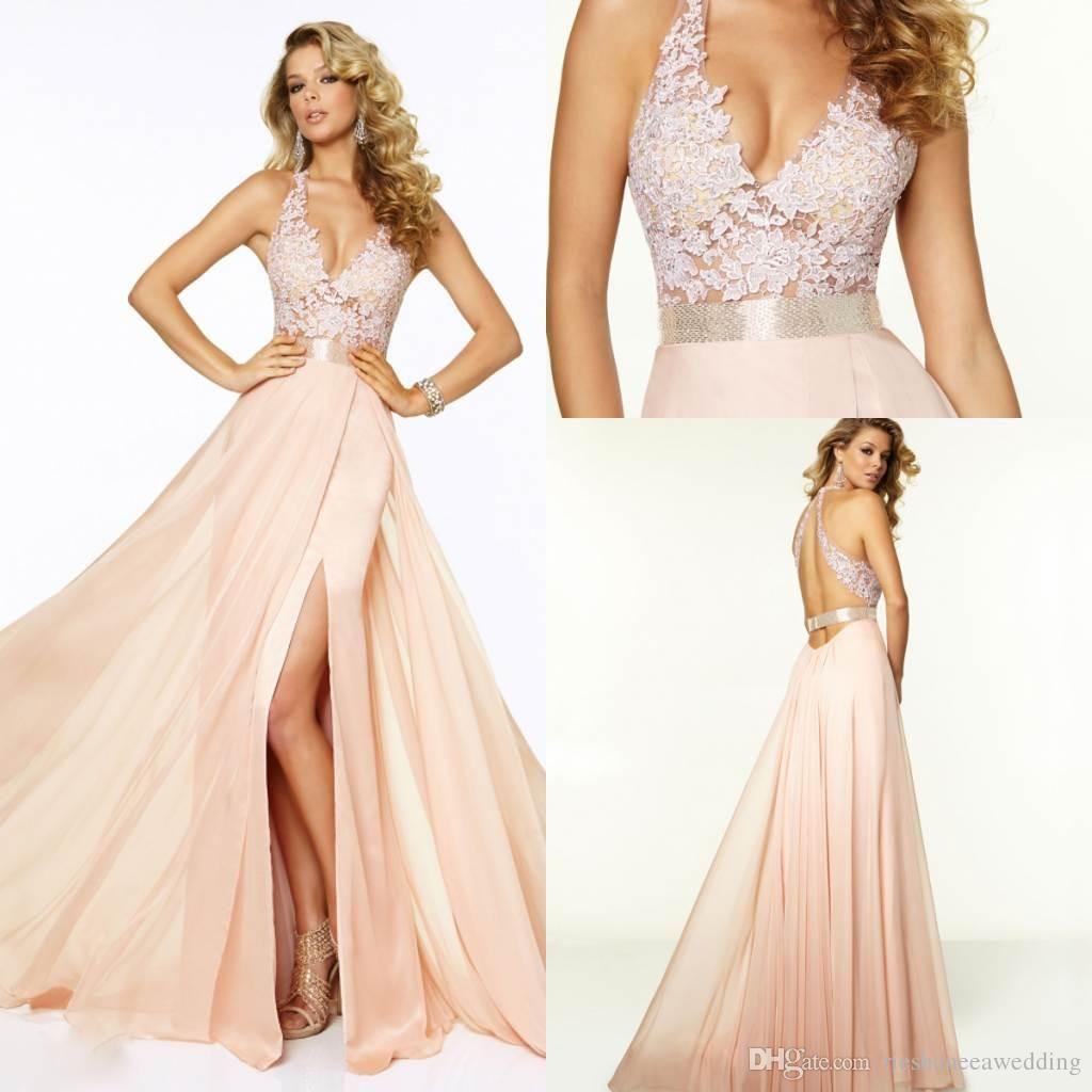 pink sweet high side split party prom dressess halter vneck