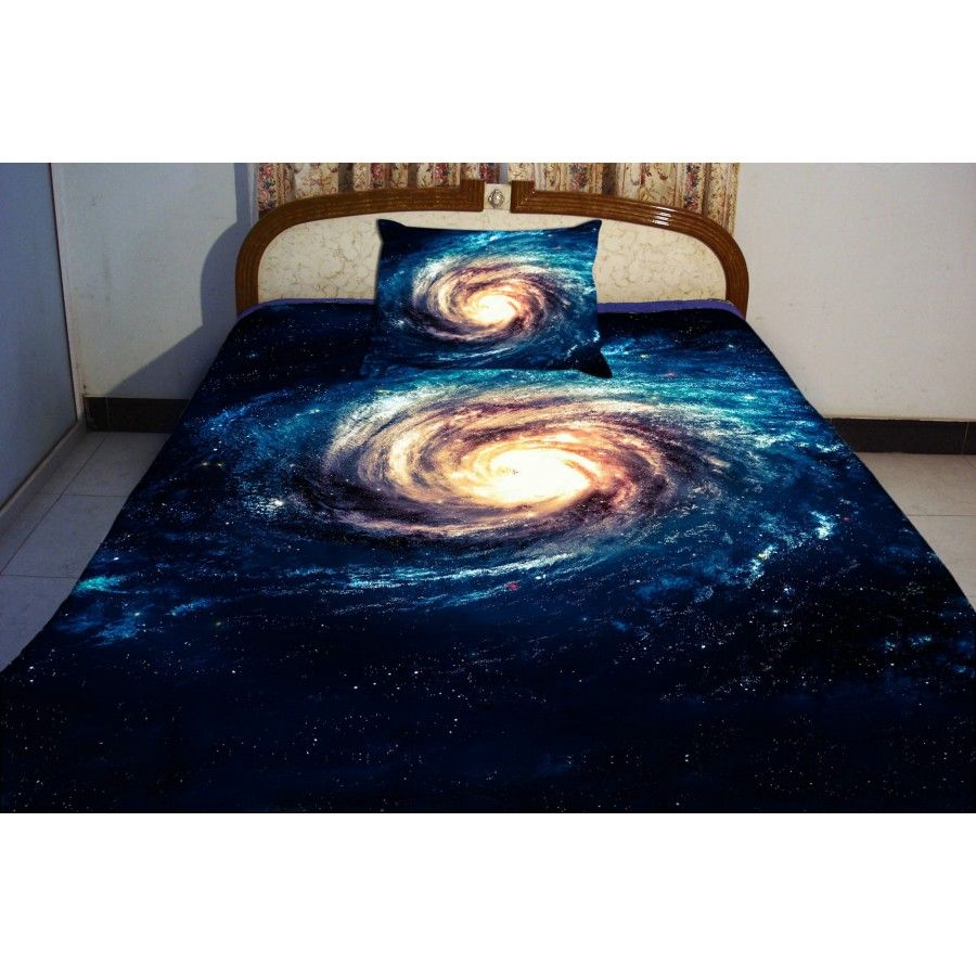 bule teen bedding set 2 sides printing blue nebula quilt cover sets nebula swirl bed linen. Black Bedroom Furniture Sets. Home Design Ideas