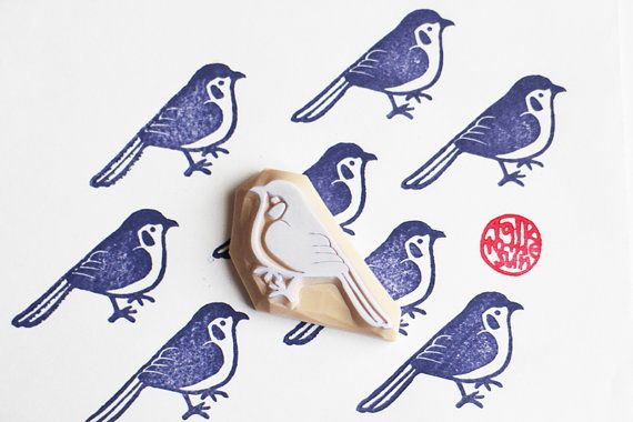 Blue bird stamp | woodland animal rubber stamp | hand carved stamp for diy birthday, christmas, card making, fabric printing #fabricstamping