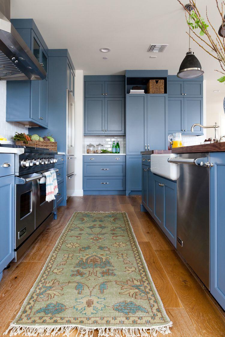 Slate blue cabinets + antique runner | Denton Developments - Slate Blue Cabinets + Antique Runner Denton Developments