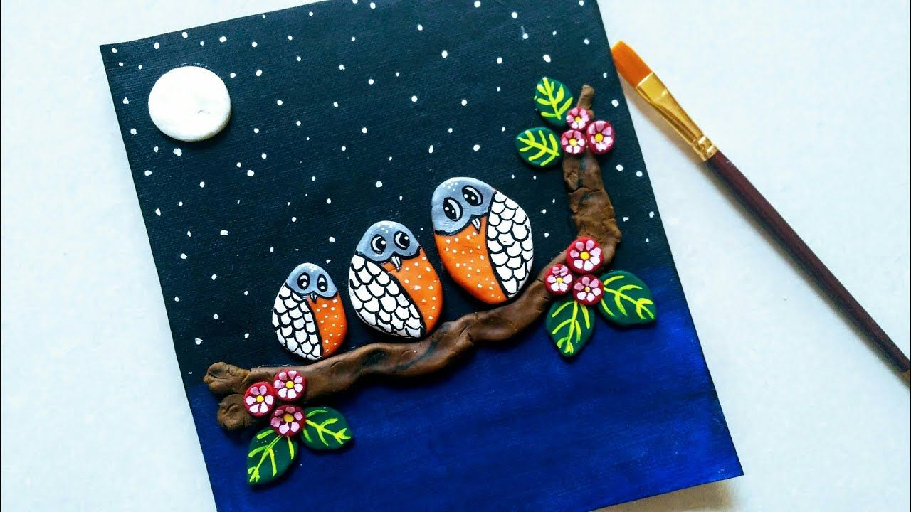 3d Clay Art Painting Making Owl Using Clay Dough Diy 3d Clay Mural Art On Canvas Youtube Clay Art Mural Art Clay Wall Art