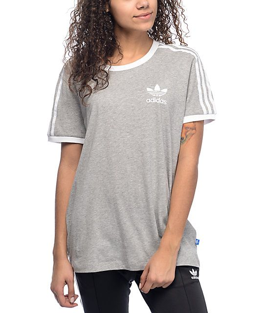 2effd3c078e This heather grey cotton t-shirt from adidas has a white felt Trefoil logo  at