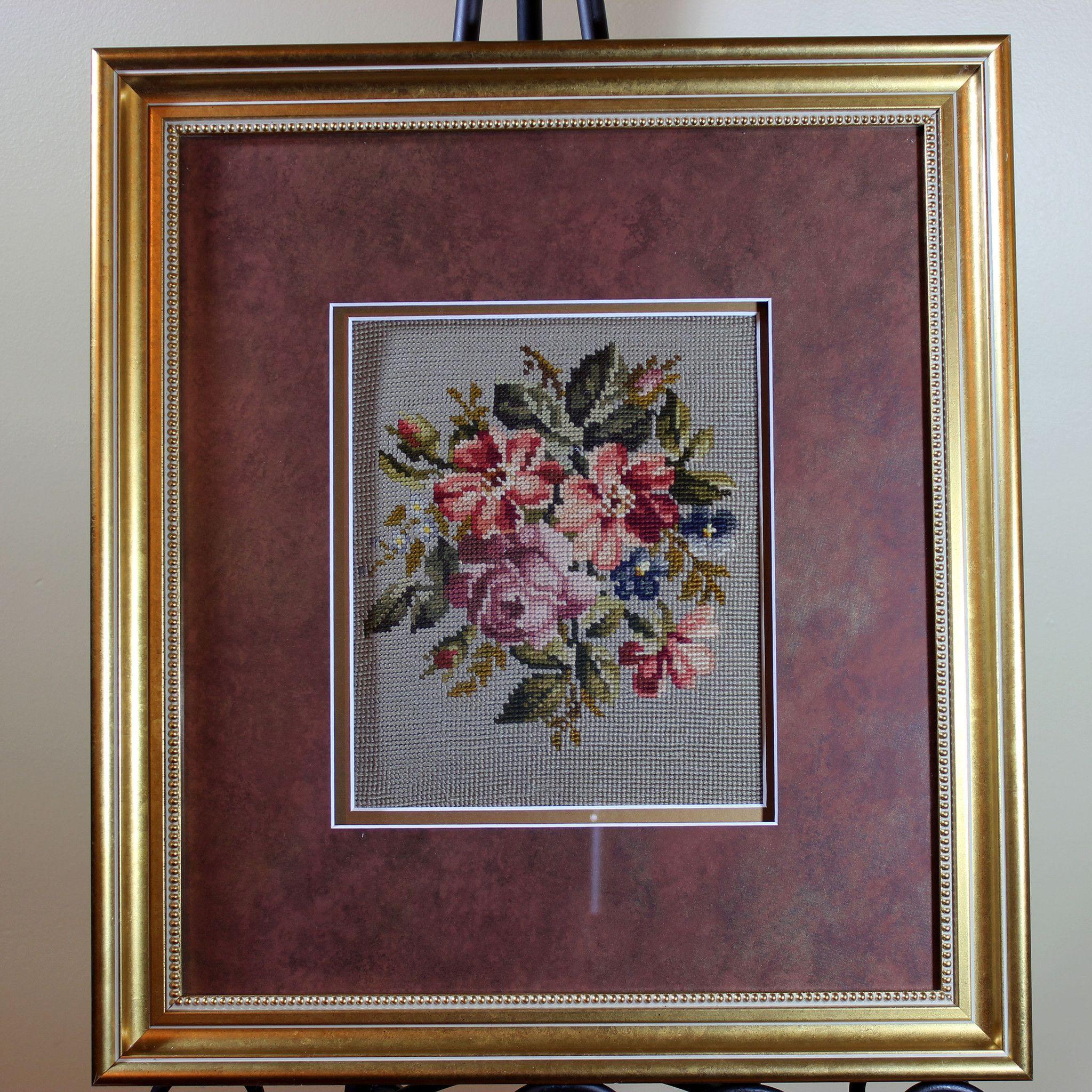 Needlepoint, Frame, Floral