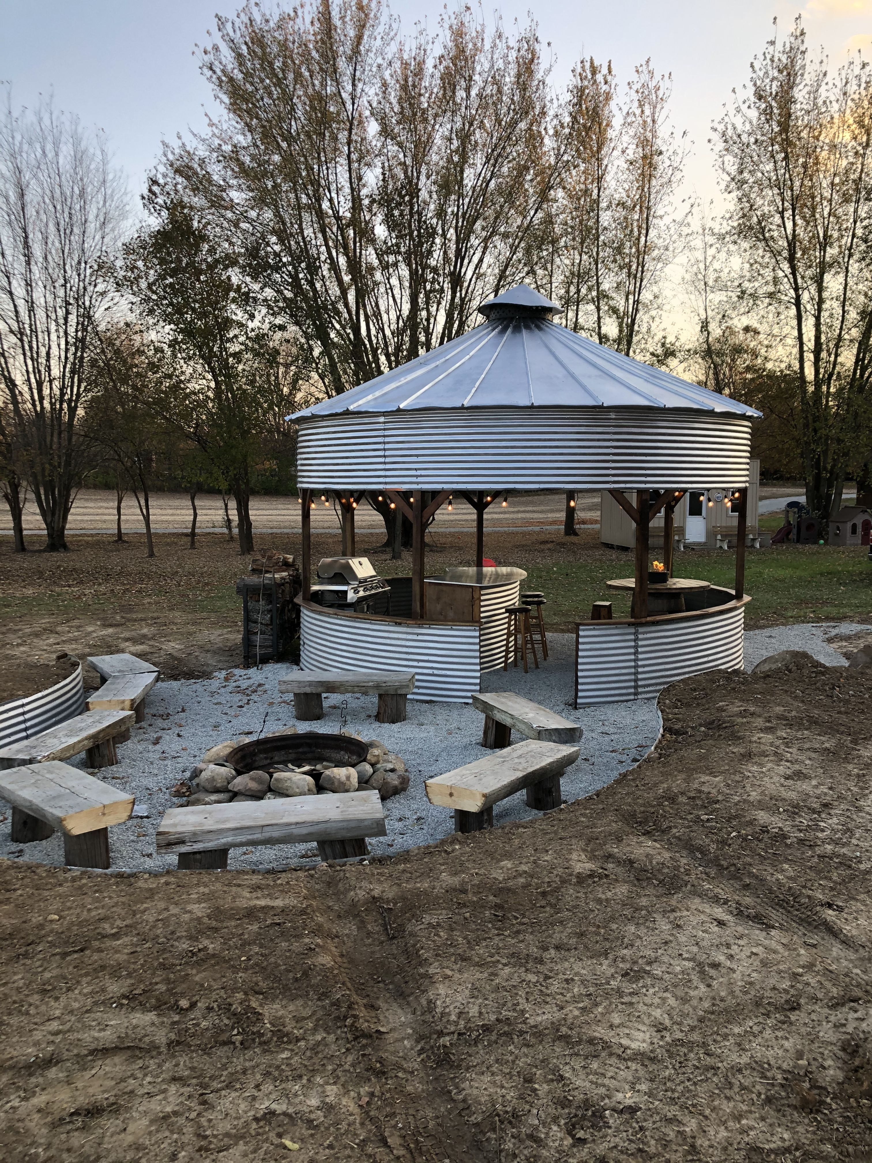Photo of Used old grain bin and extra parts to create a gazebo and fire pit area #bin #Fi…