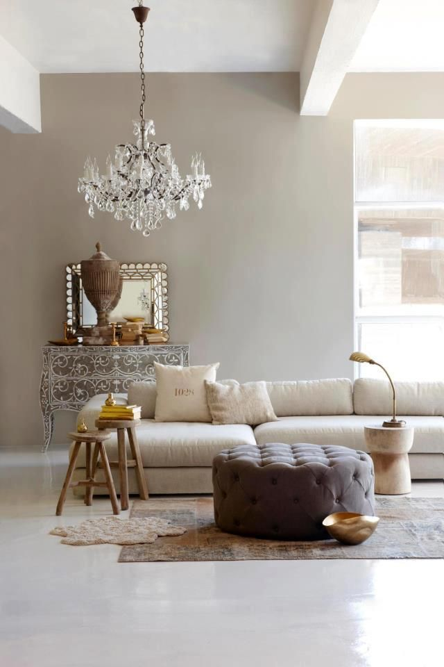 Living Room Ideas Taupe Wall With Crystal Chandelier