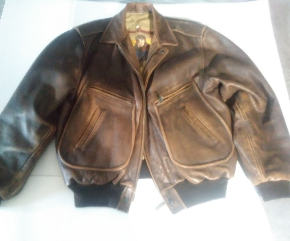 493fbe83d0d Mens vintage charles chevignon leather bomber jacket brown large ...