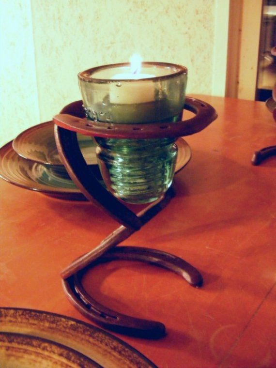 Candle holder horseshoes metal work pinterest for Insulator candle holder