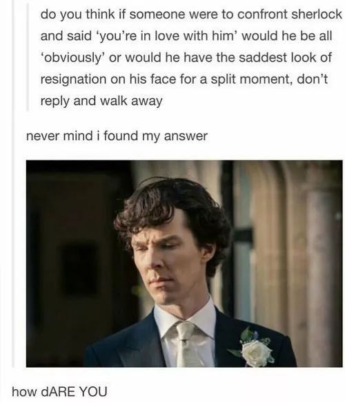 Do you think if someone were to confront Sherlock and said 'you're in love with him' would he be all 'obviously' or would he have the saddest look of resignation on his face for a split moment, don't reply and walk away? #johnlock