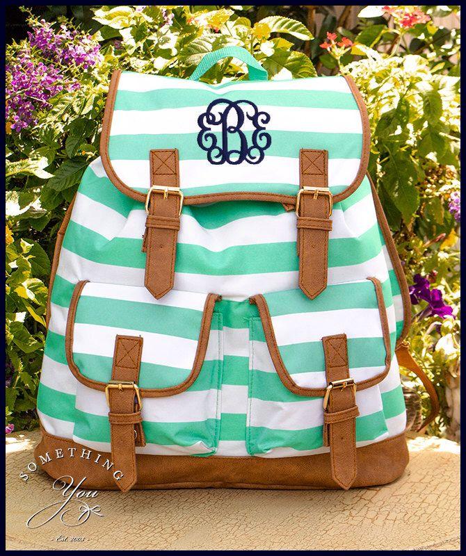Mint Striped Personalized Campus Backpack- Monogrammed Knapsack Backpack 0fcc4274ddfe9
