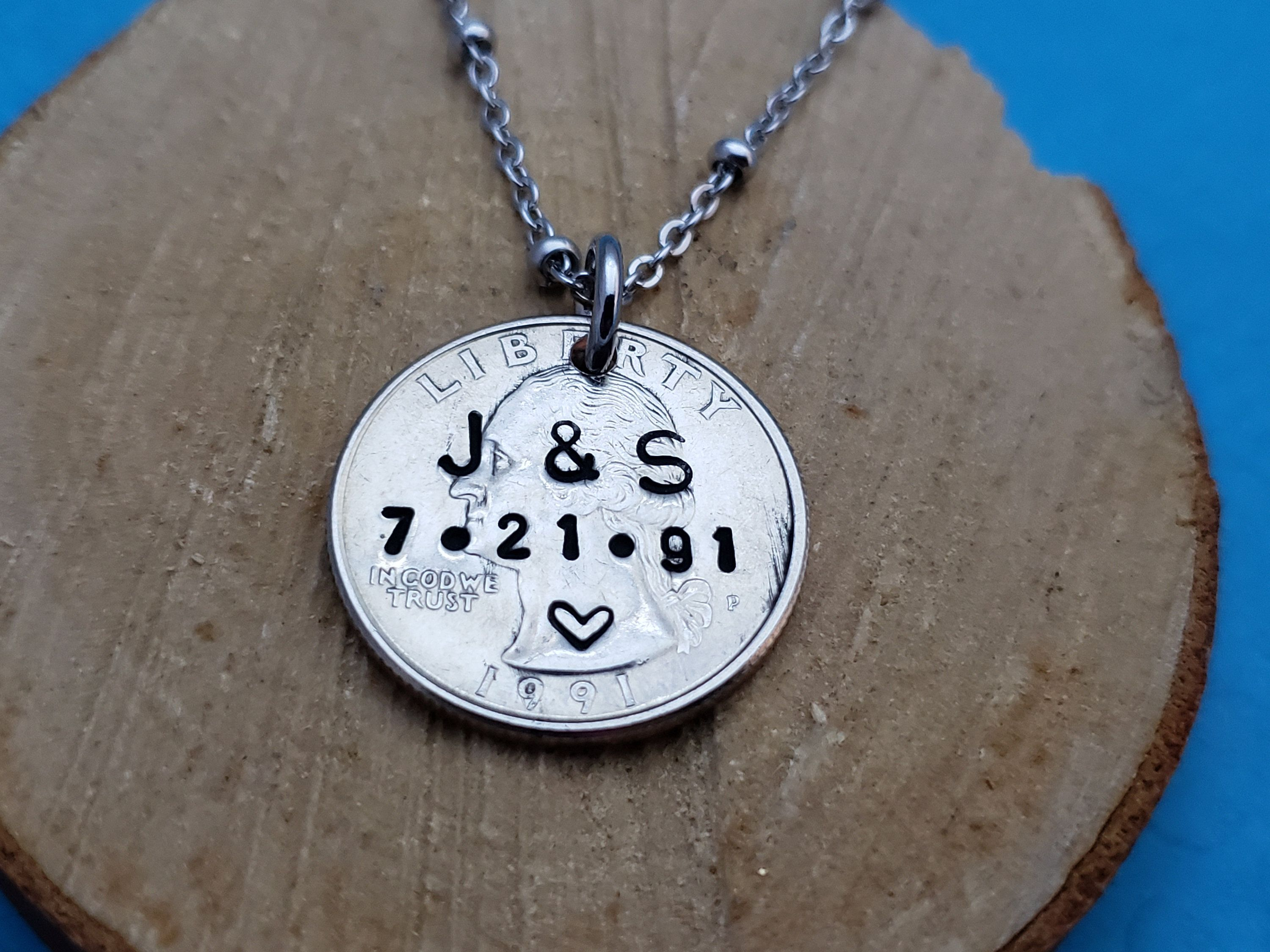 25 year anniversary necklace gift us quarter jewelry