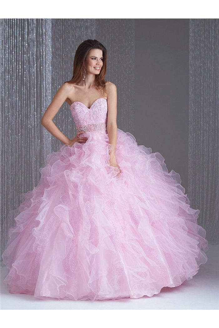 Graceful Ball Gown Light Pink Organza Ruffle Lace Beaded Corset Prom ...