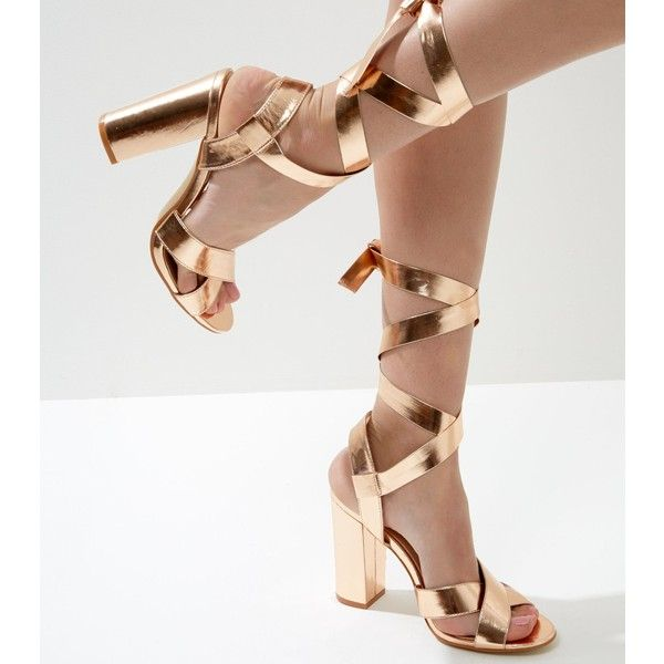 New Look Wide Fit Rose Gold Tie Up Block Heeled Sandals ($35) ❤ liked