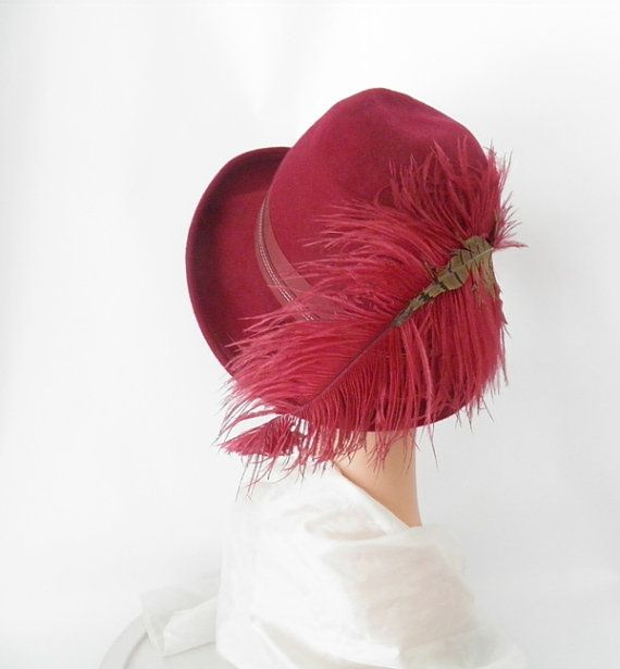 Vintage fedora hat/ maroon with feathers/ by TheVintageHatShop, $46.00