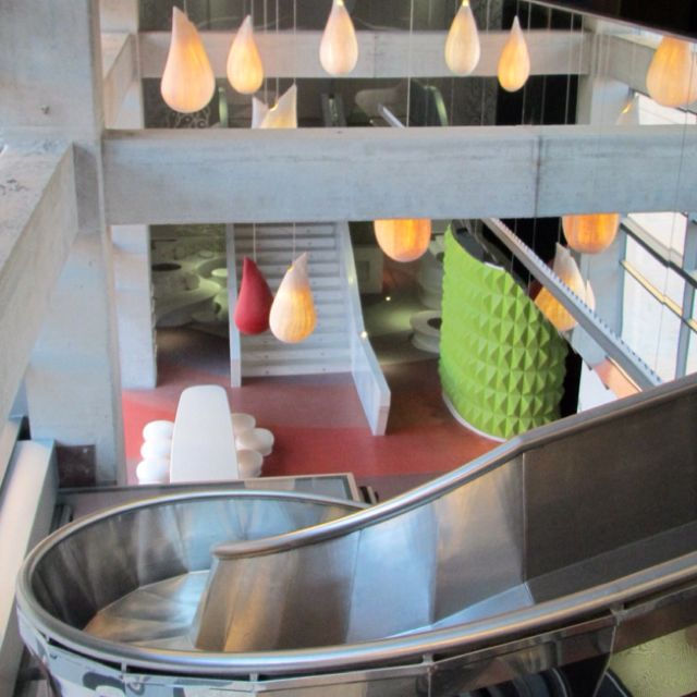 """The COOLEST hotel in Malaga, Spain. The """"Barcelo."""" It has a slide in the lobby ! Summer 2012."""