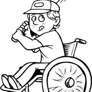 Disability Boy On Wheelchair Playing Baseball Coloring Page