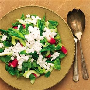 Grilled Spring Onions Cucumber Salad With Cottage Cheese Recipe Delicious Magazine Free Recipes Salaty Olivki Recepty