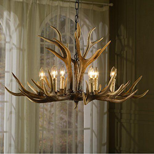 EFFORT INC Antlers Vintage Stil Harz 6 Licht Kronleuchter, Amerikanische  Ländliche Landschaft Geweih Kronleuchter