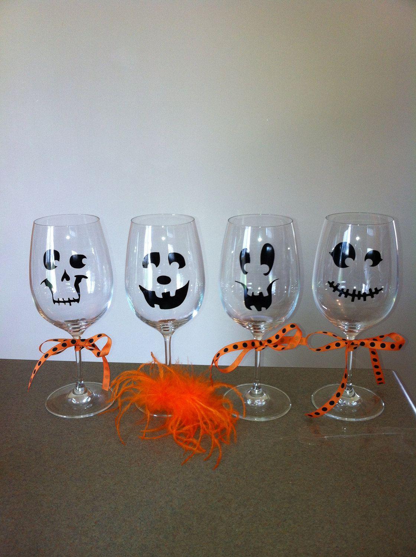 Happy Halloween! Spooky Wine Glasses - Set of 4   Copas de vino pintadas,  Manualidades, Copas de cristal